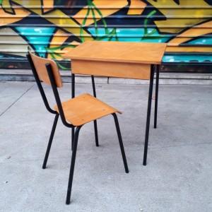 Ensemble pupitre et chaise années 60 1