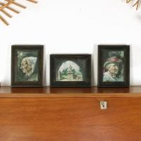 Tryptique de tableaux anciens
