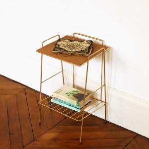 Petite table d'appoint métal doré