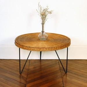 Table ronde vintage en rotin 1