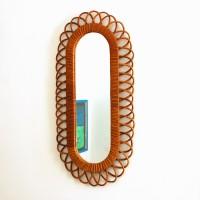 Miroir allongé en rotin