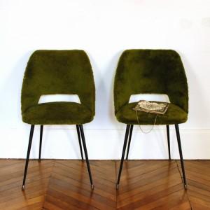 Chaise vintage fourrure verte 1