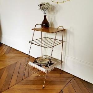 Table d'appoint métal doré et bois 1