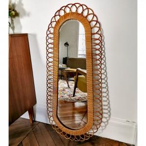 Grand miroir en rotin vintage 1