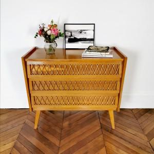 Commode en bois et rotin vintage 1