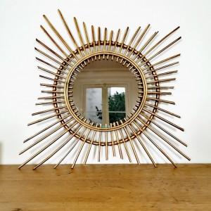 Miroir soleil en rotin doré 1
