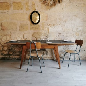 Table vintage avec rallonges