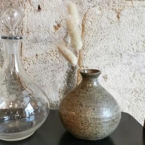 Carafe en verre grave ancienne