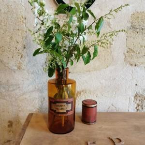 Flacon ancien de pharmacie Carbonate de chaux