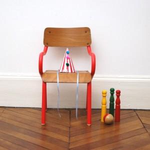 Petite chaise années 50 bleu délavé