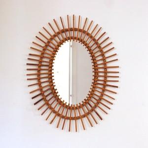 Miroir soleil en rotin ovale