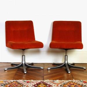 Paire de fauteuils 70's orange 1